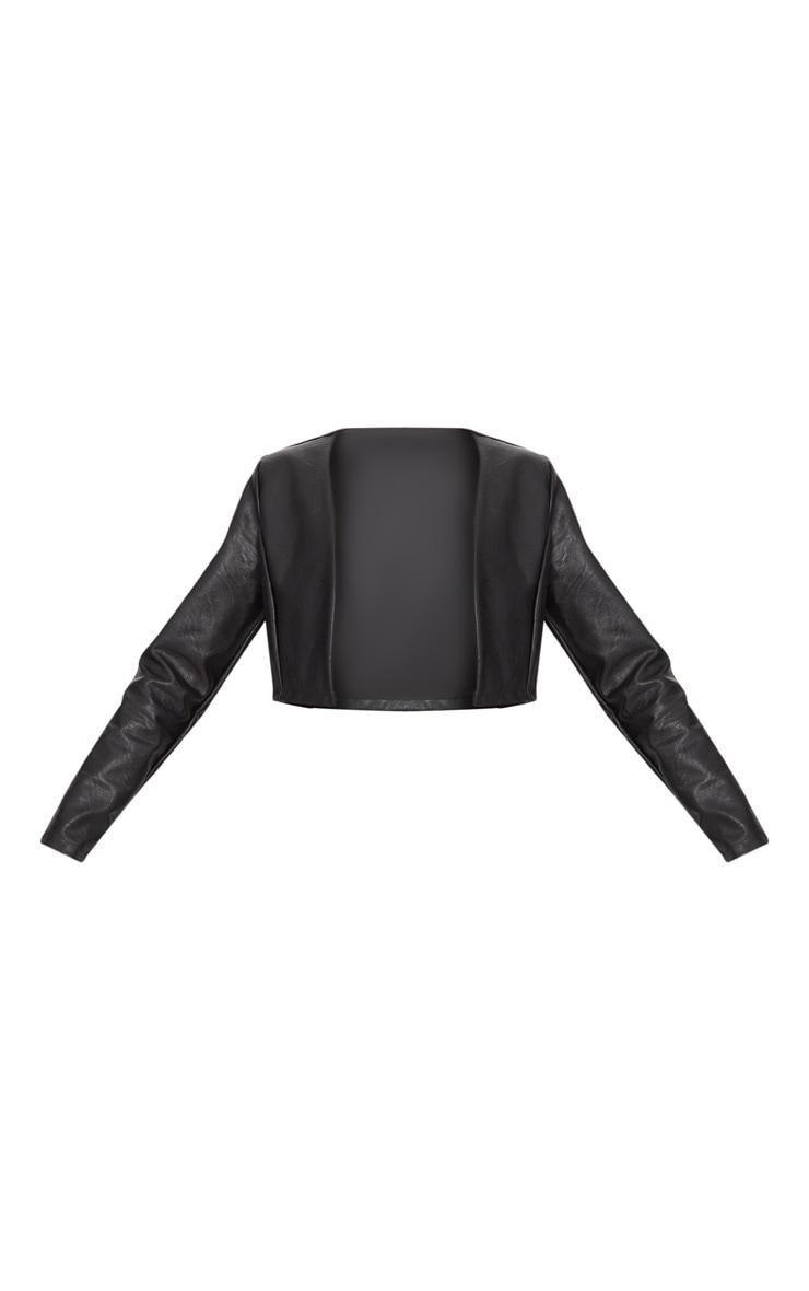 Black Cropped PU Blazer  3