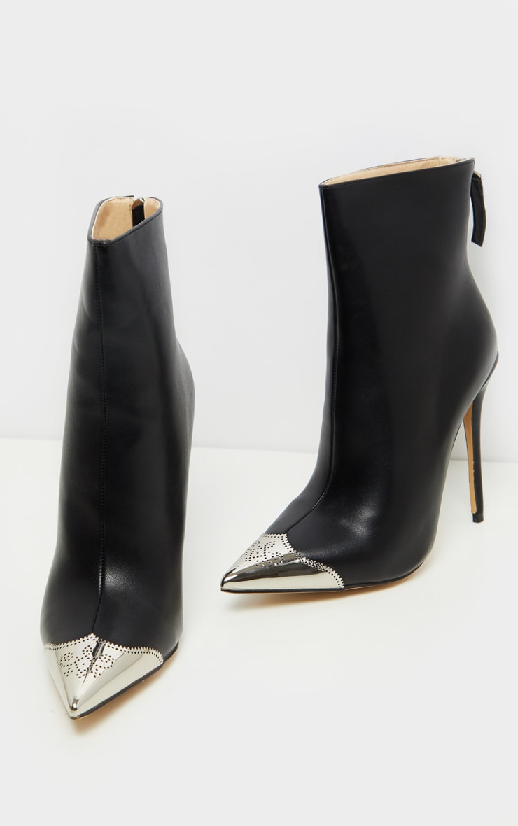 Black Metal Toe Heeled Ankle Boot 2