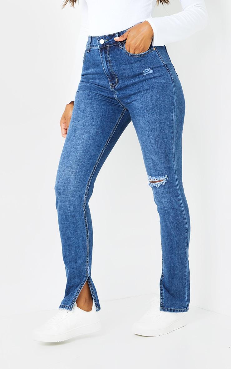 Dark Blue Wash Long Leg Split Hem Skinny Jeans 2