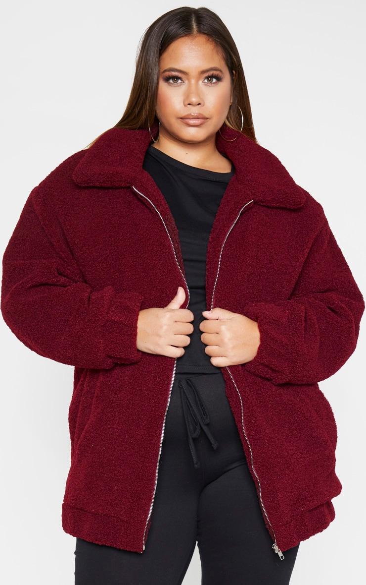 Plus Burgundy Teddy Bomber Coat 1