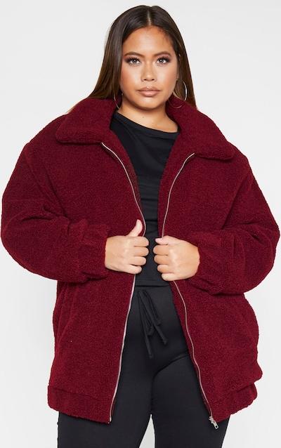 Plus Burgundy Teddy Bomber Coat