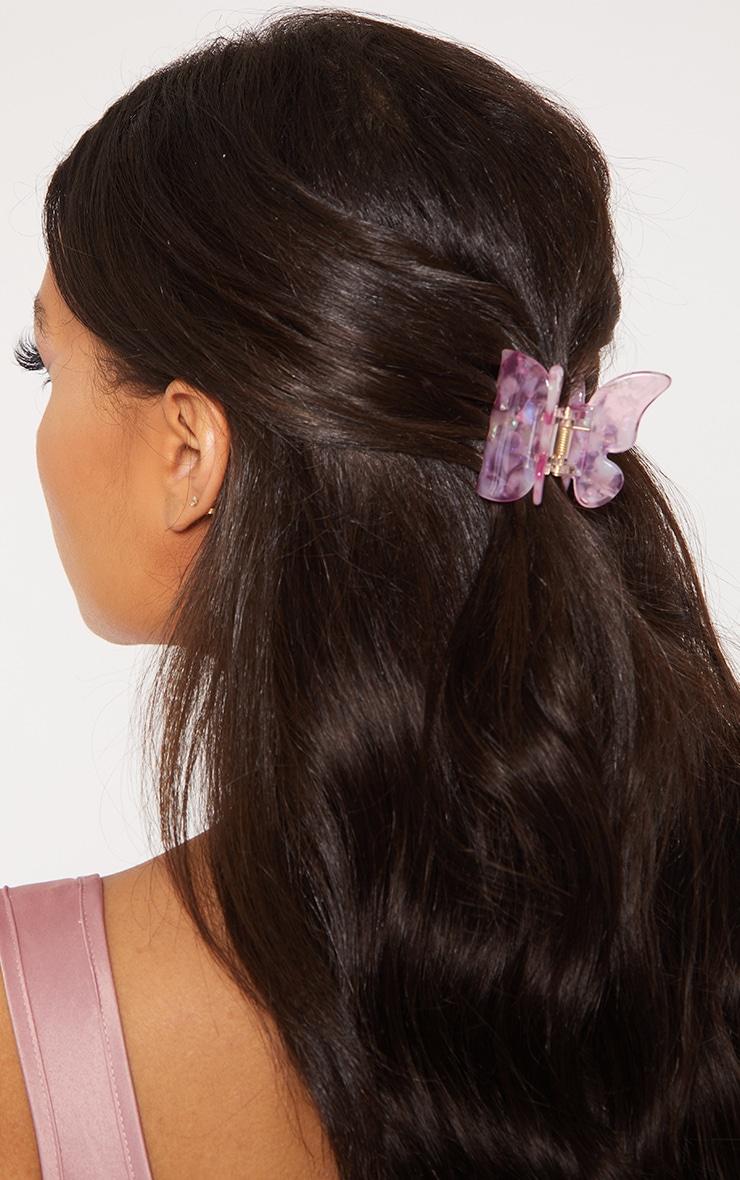 Barrette papillon rose marbré 1