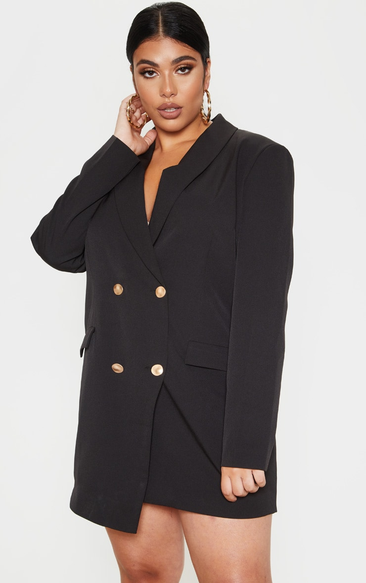 Plus Gold Button Blazer Dress 1