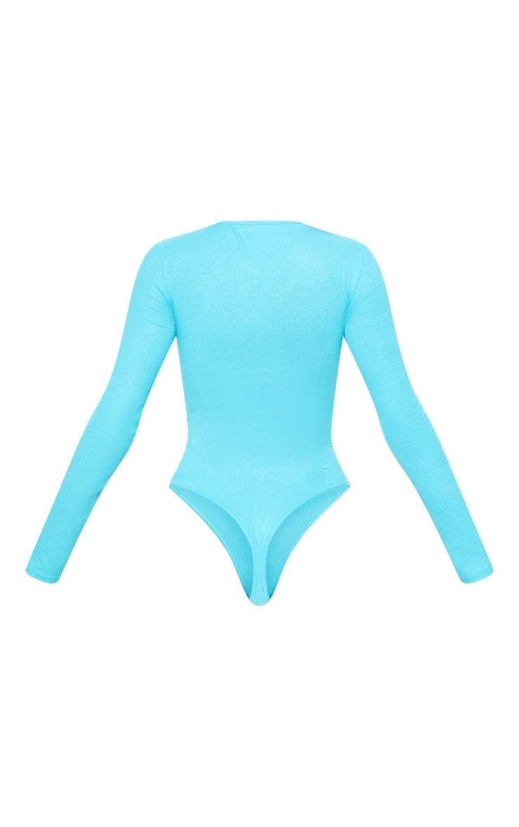 Bright Blue Rib Crew Neck Long Sleeve Bodysuit 4