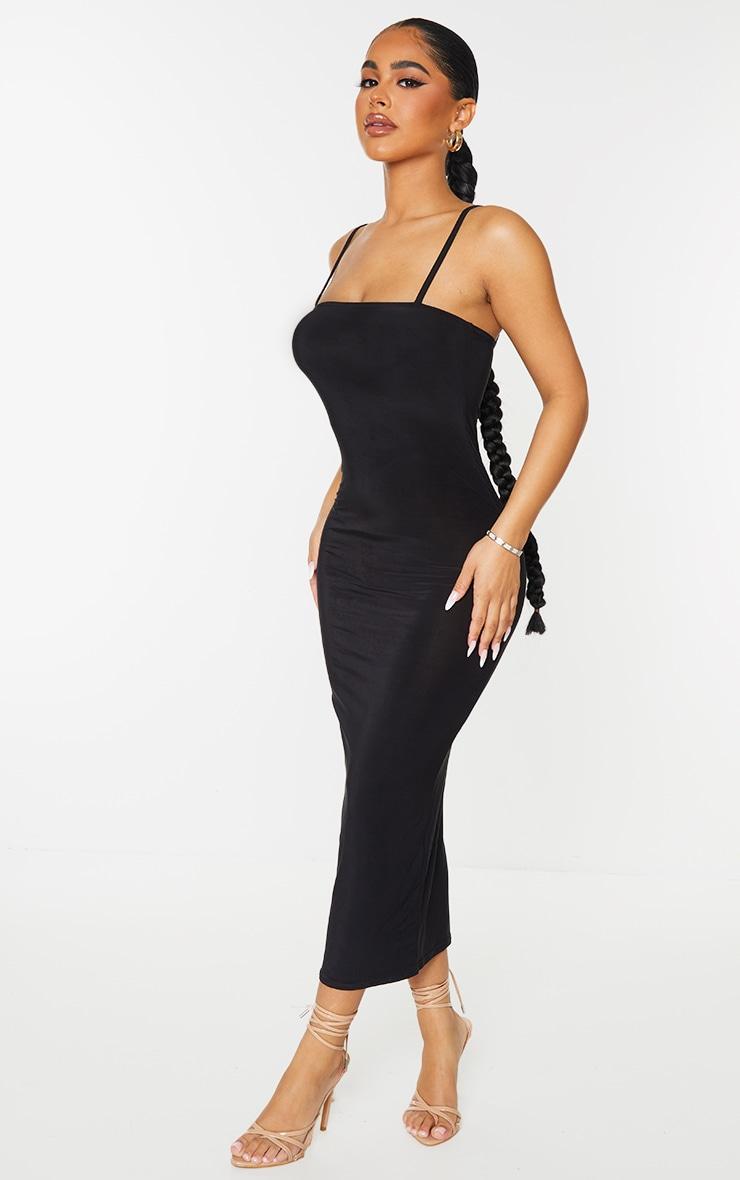 Petite Black Square Neck Strappy Slinky Midaxi Dress 4