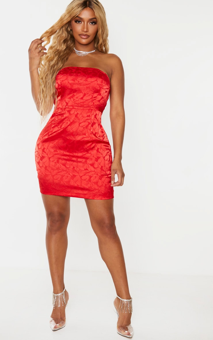 Shape Red Printed Satin Bandeau Bodycon Dress 3