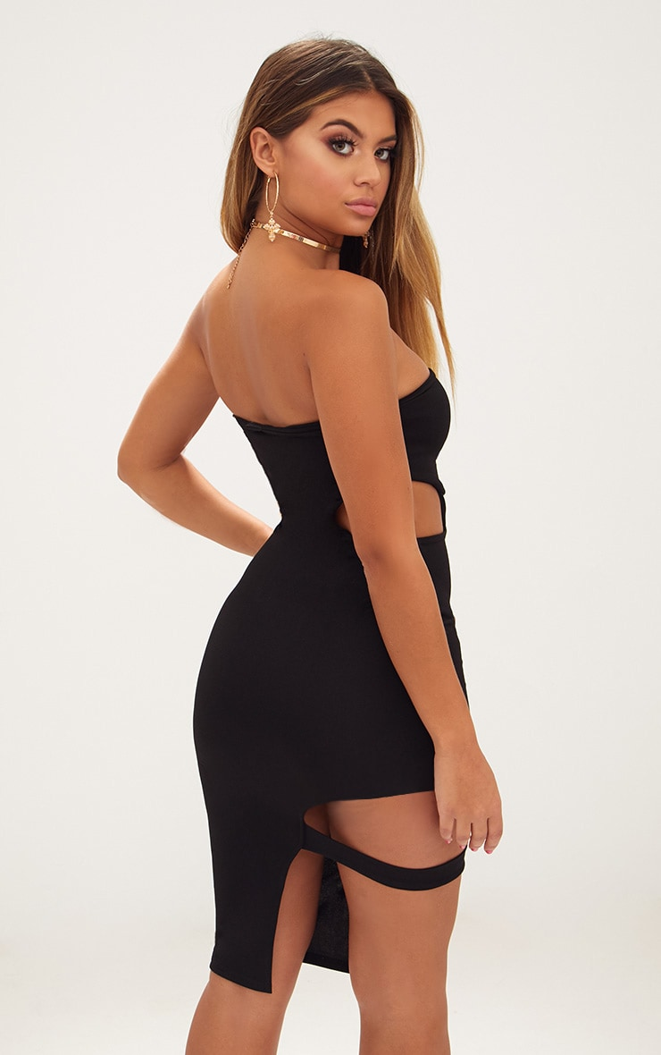 Black Cut Out Detail Bandeau Midi Dress 2