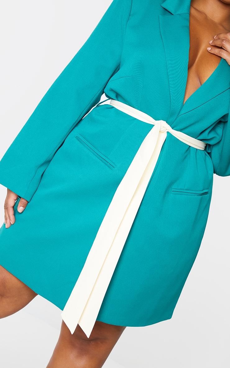 Plus Emerald Contrast Tie Waist Blazer Dress 4