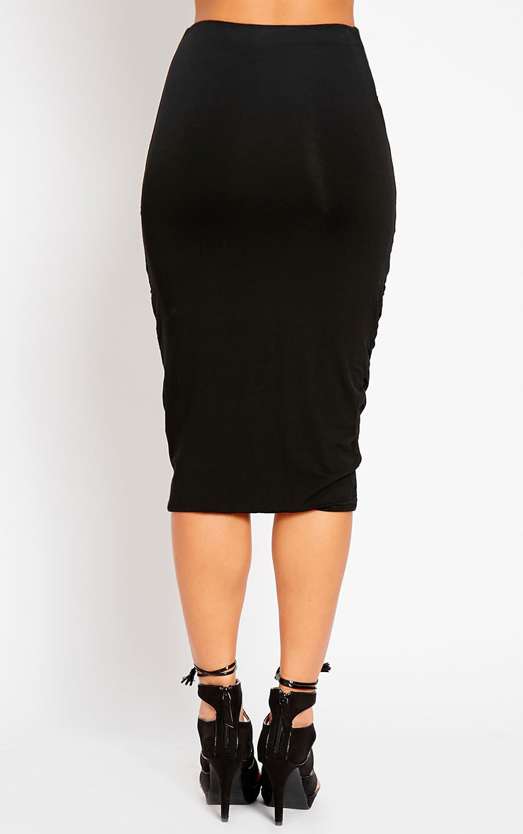 Asia Black Jersey Ruched Midi Skirt 2