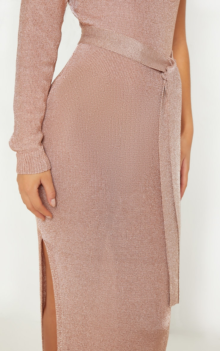 Rose Gold One Shoulder Metallic Knitted Dress 5