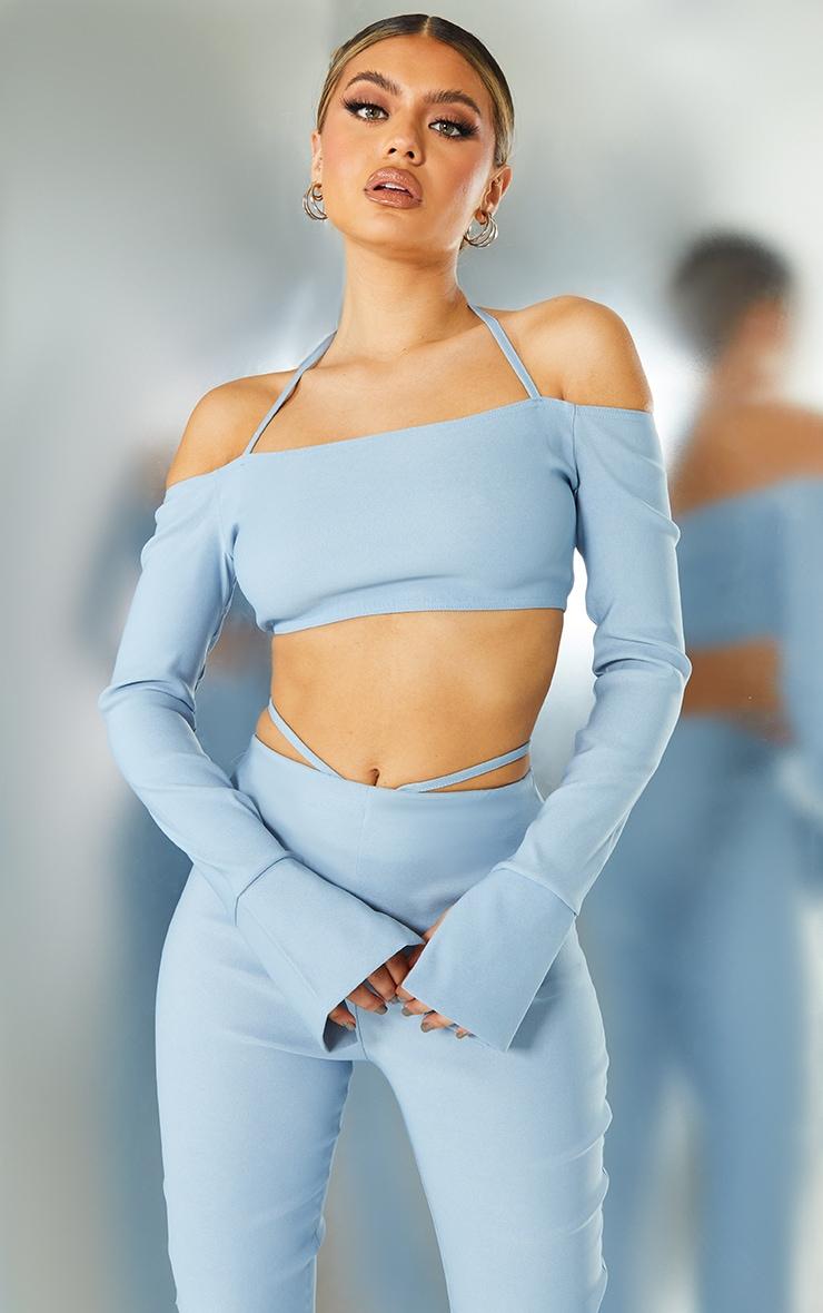 Light Blue Stretch Woven Halterneck Bardot Crop Top 1