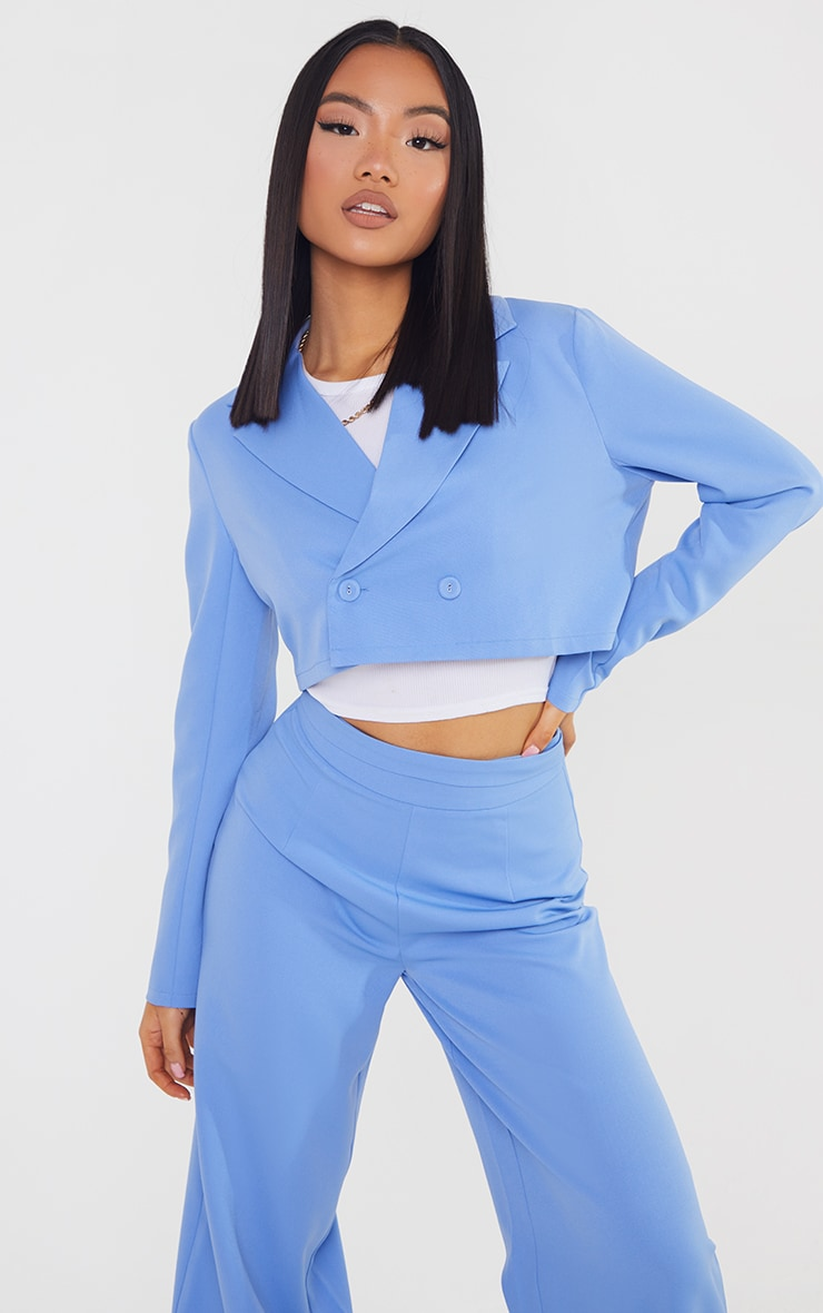 Petite Steel Blue Cropped Double Breasted Blazer 1