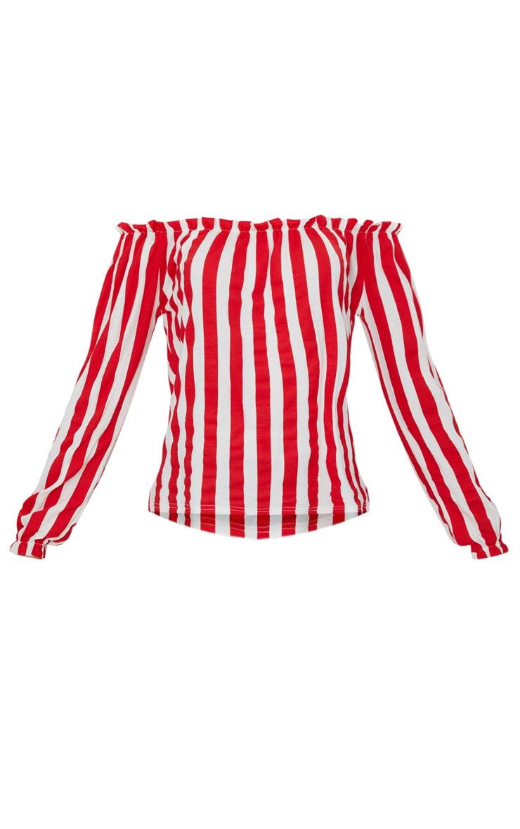 Red Stripe Bardot Jersey Top  3
