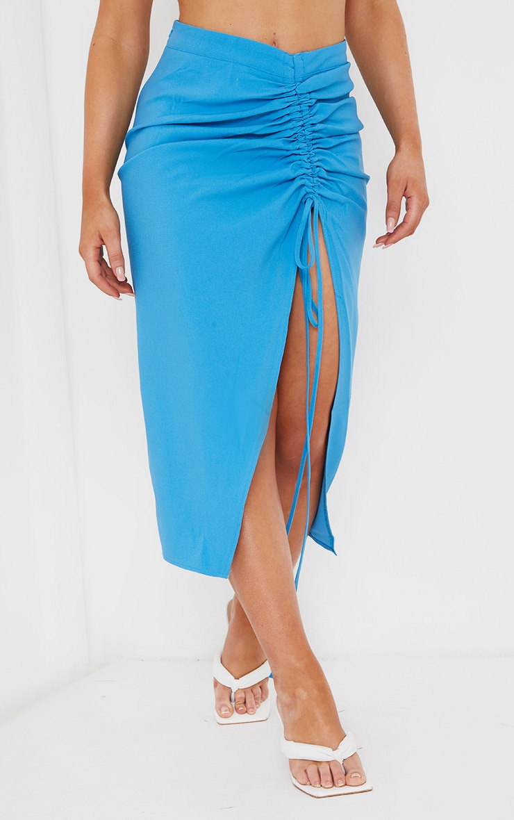 Blue Ruched Woven Detail Midi Skirt 2