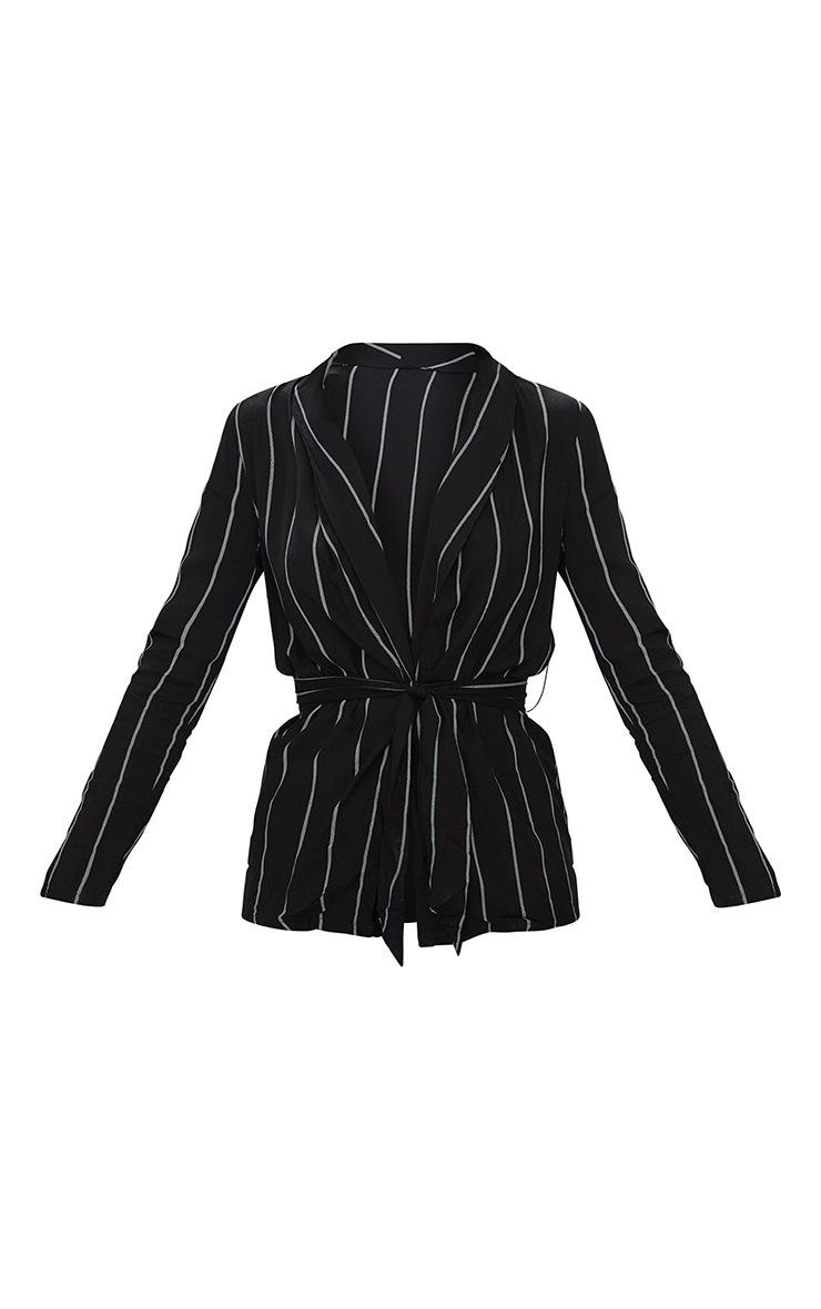 Black Pin Stripe Belted Blazer 3