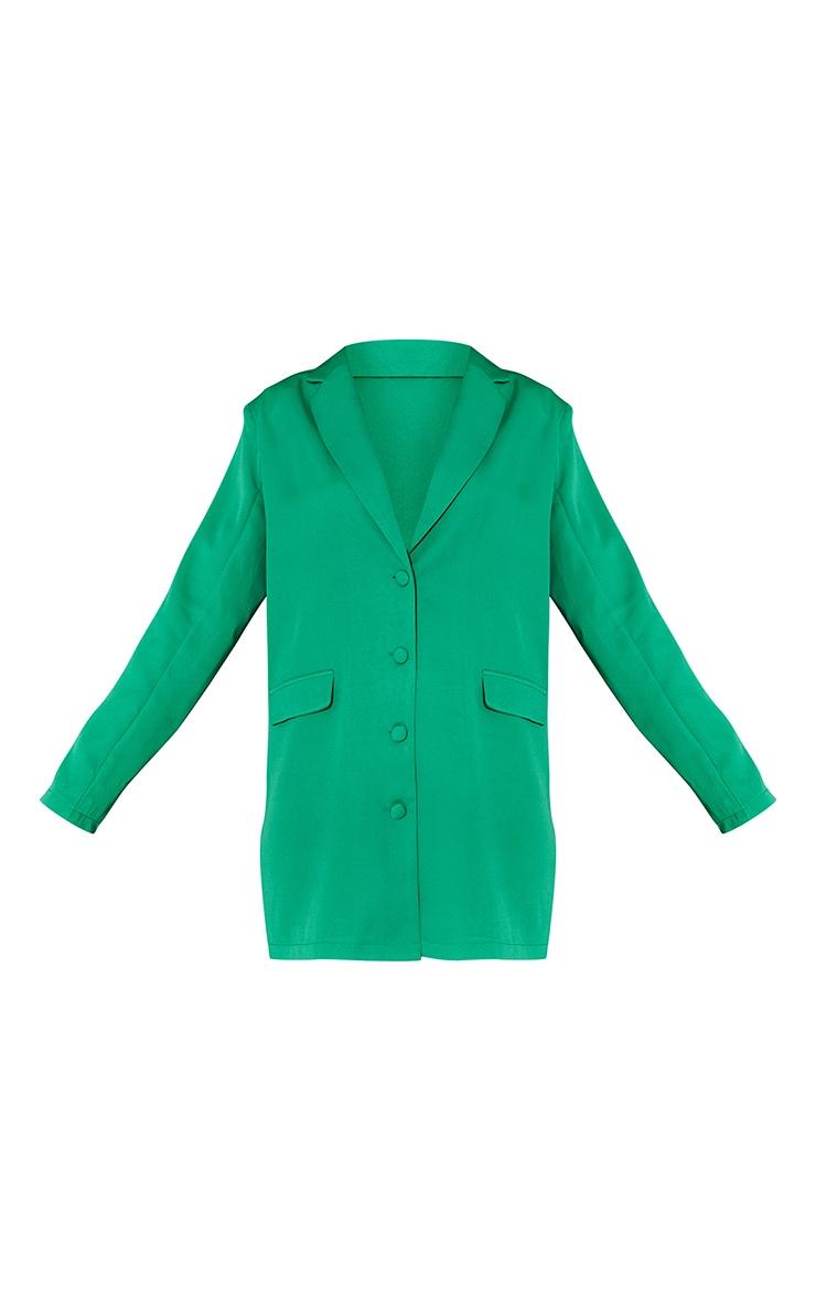 Green Long Sleeve Oversized Shoulder Pad Blazer Dress 5