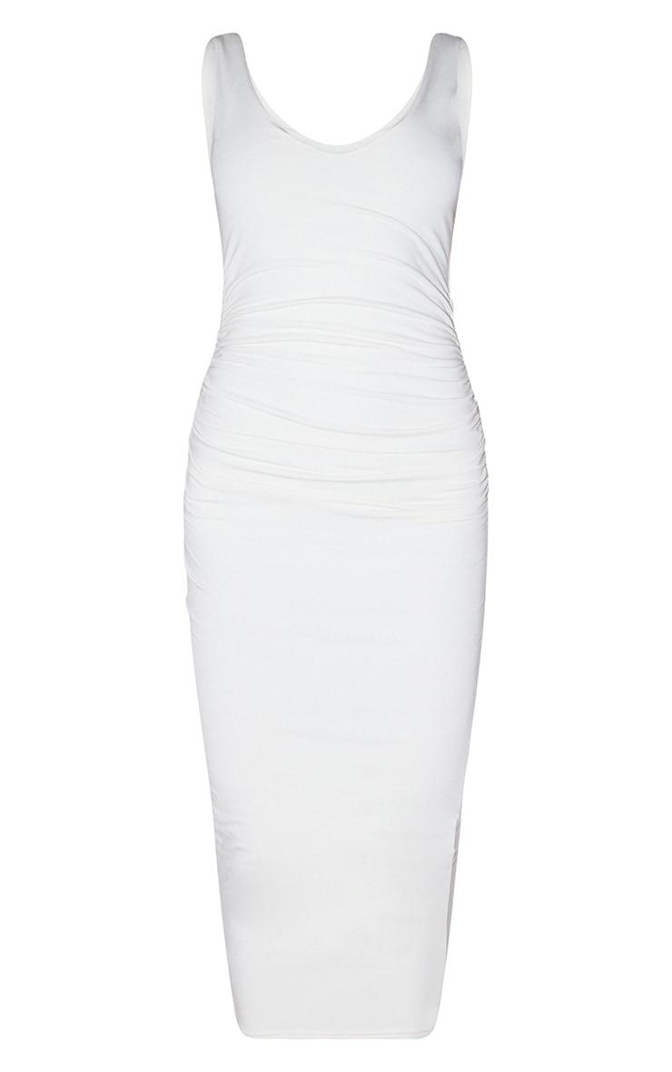 Recycled Cream Contour Jersey Sleeveless Scoop Neck Midaxi Dress 5