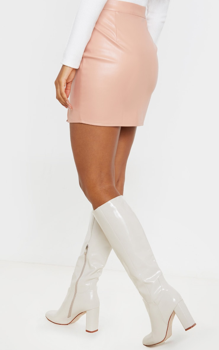 Blush Faux Leather Split Mini Skirt 4