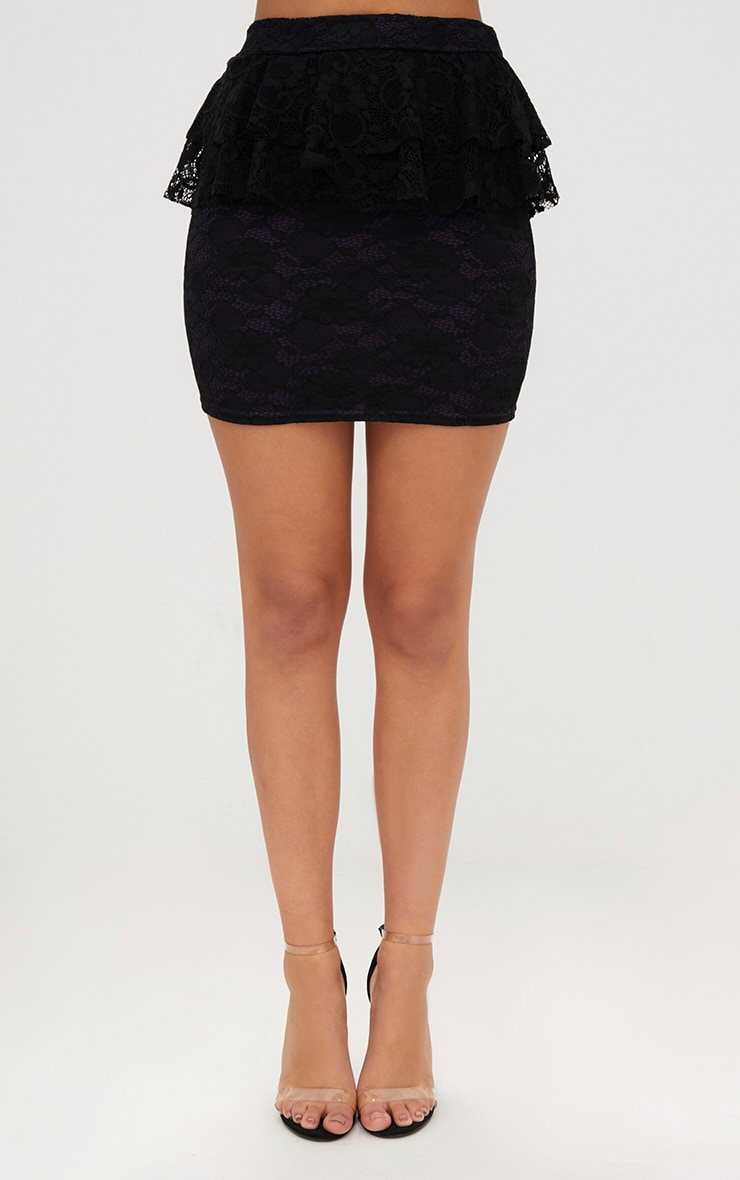Purple Lacey Frill Waist Mini Skirt 2
