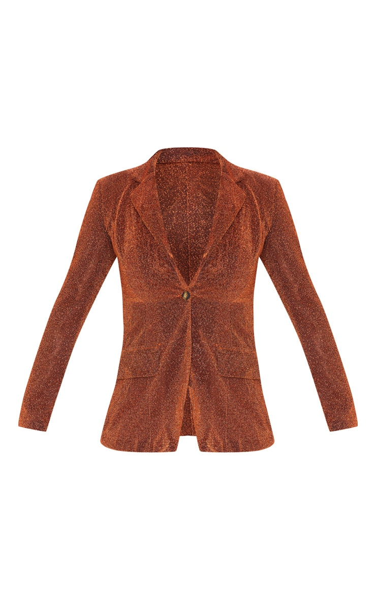 Rust Glitter Structured Suit Woven Blazer    3