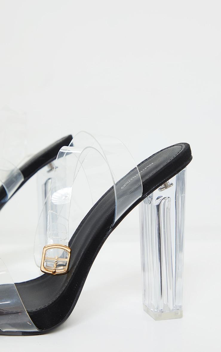 Black Wide Fit Clear High Block Heel Strappy Heel Sandals 4