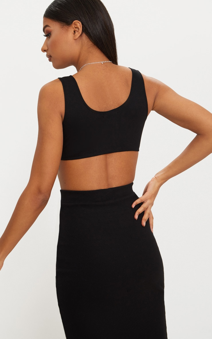 Black Second Skin Cut Away Crop Top 2