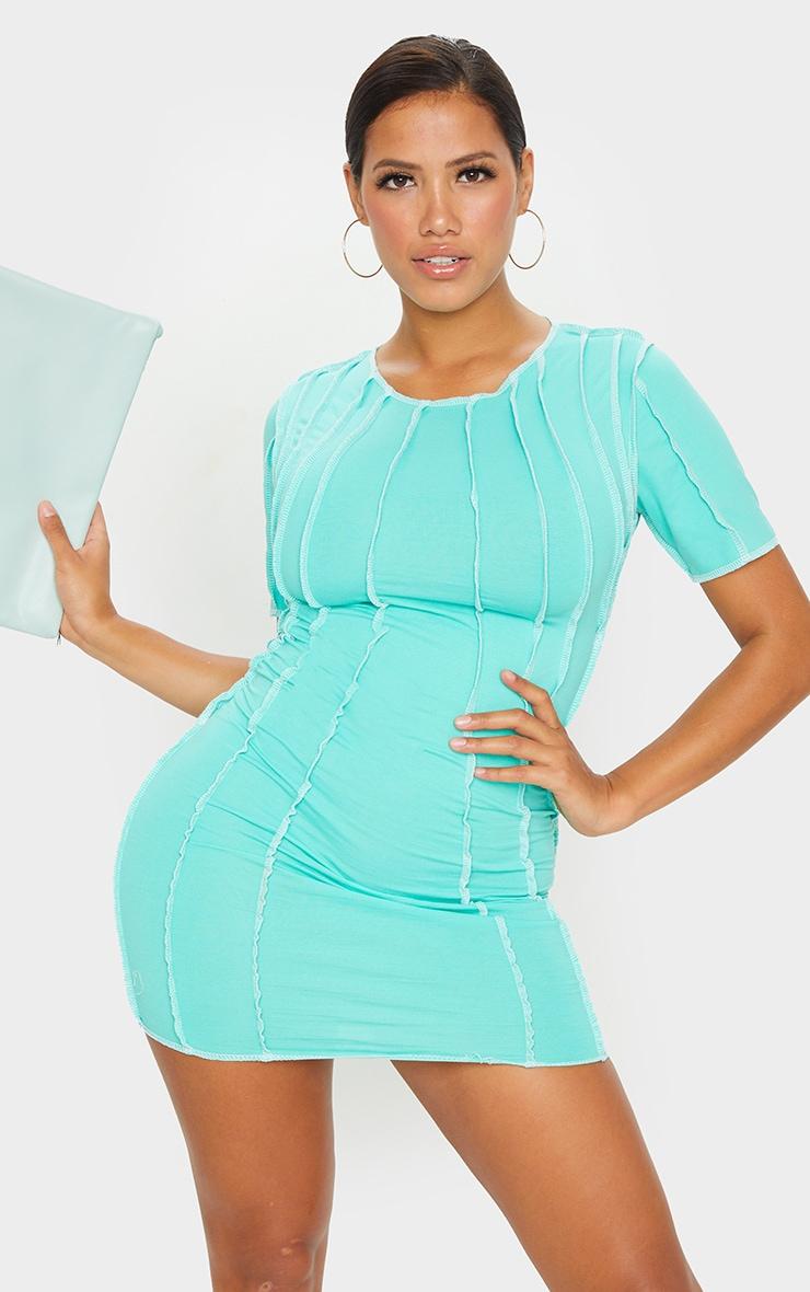 Shape Mint Contrast Seam Detail Short Sleeve Bodycon Dress 1