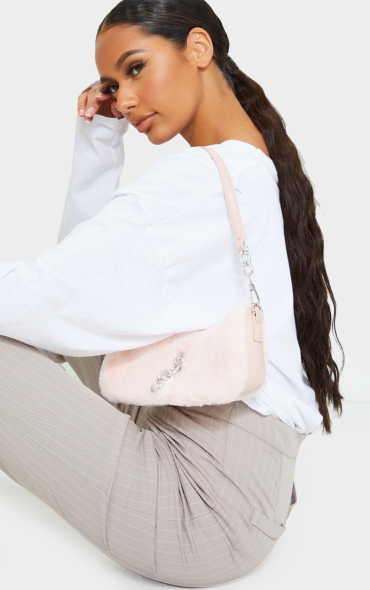 Pink Faux Fur Silver Chain Shoulder Bag 1