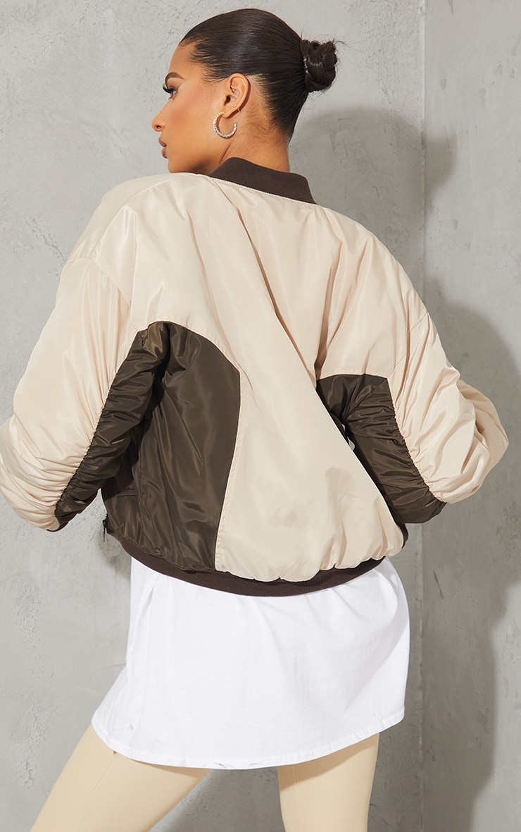 Sand Nylon Contrast Cropped Bomber 2