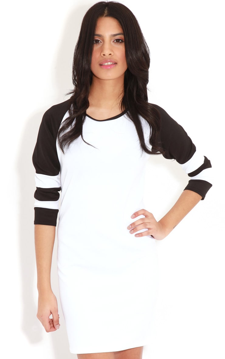Jolyn Monochrome Stripe Scuba Dress 5