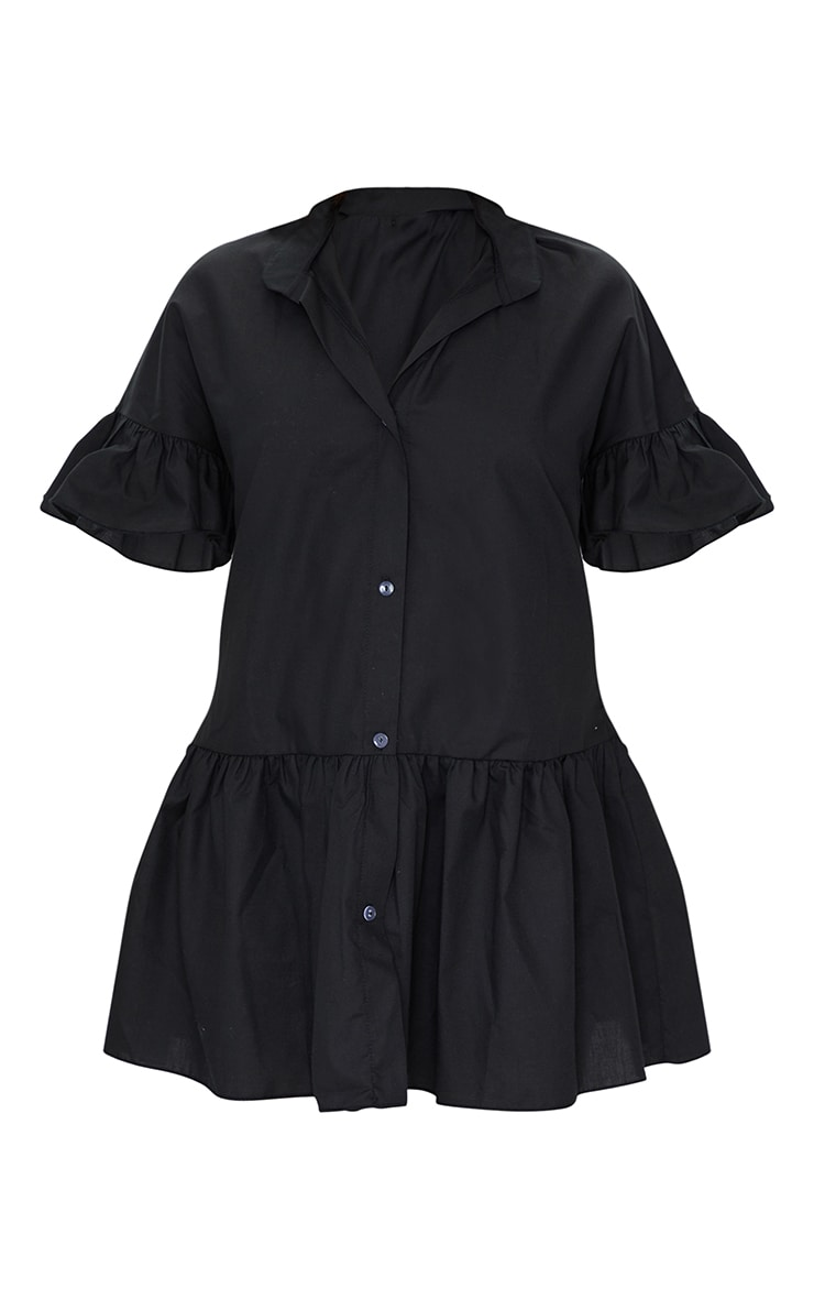 Petite Black Drop Hem Short Sleeve Shirt Dress 5