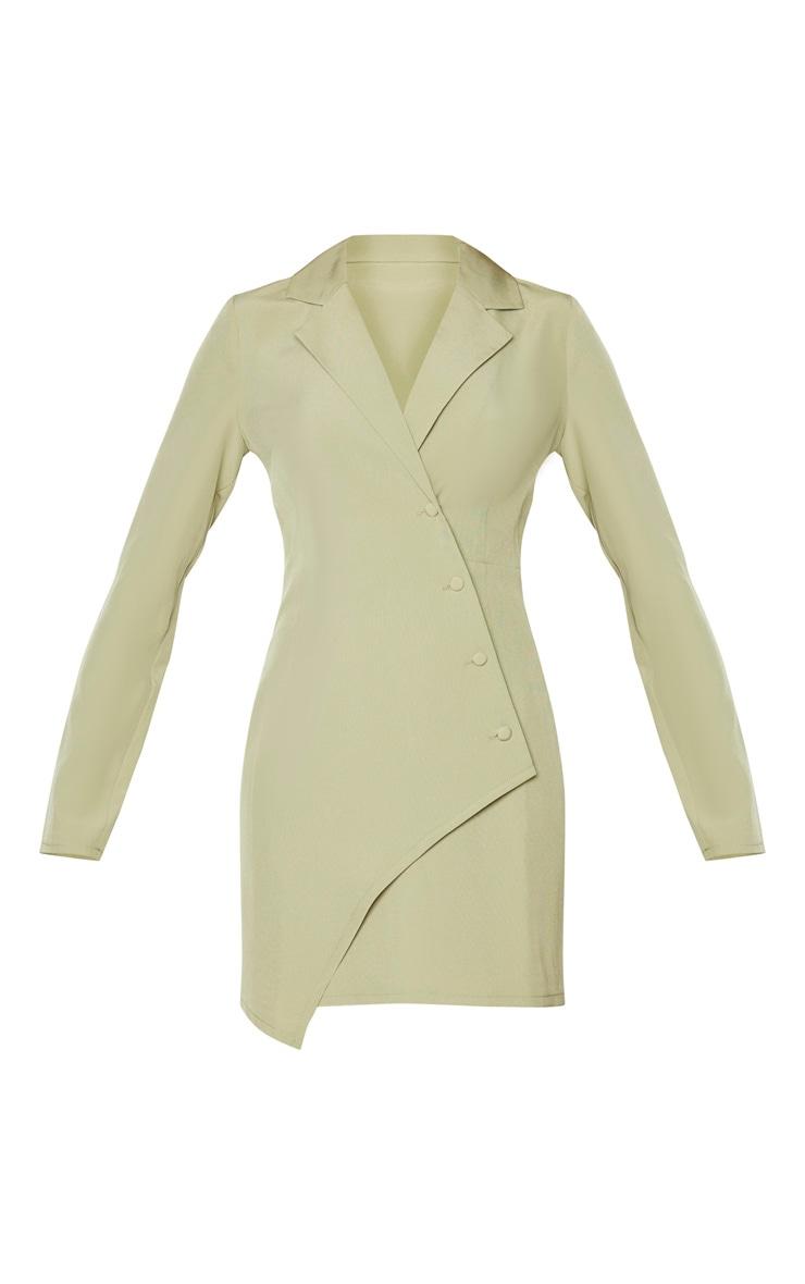 Sage Khaki Button Detail Wrap Blazer Dress 5