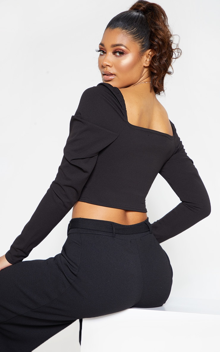 Tall Black Square Neck Long Sleeve Crop Top  2