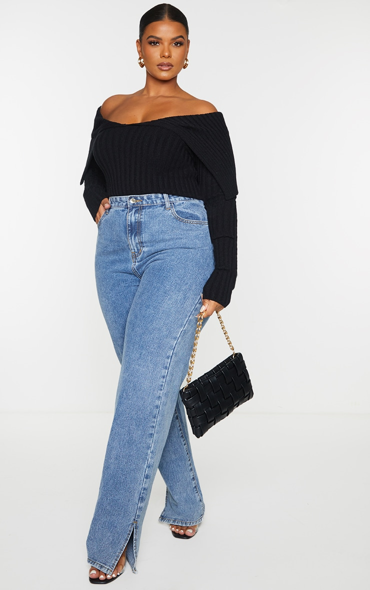 Plus Black Off Shoulder Collar Detail Ribbed Jumper 3