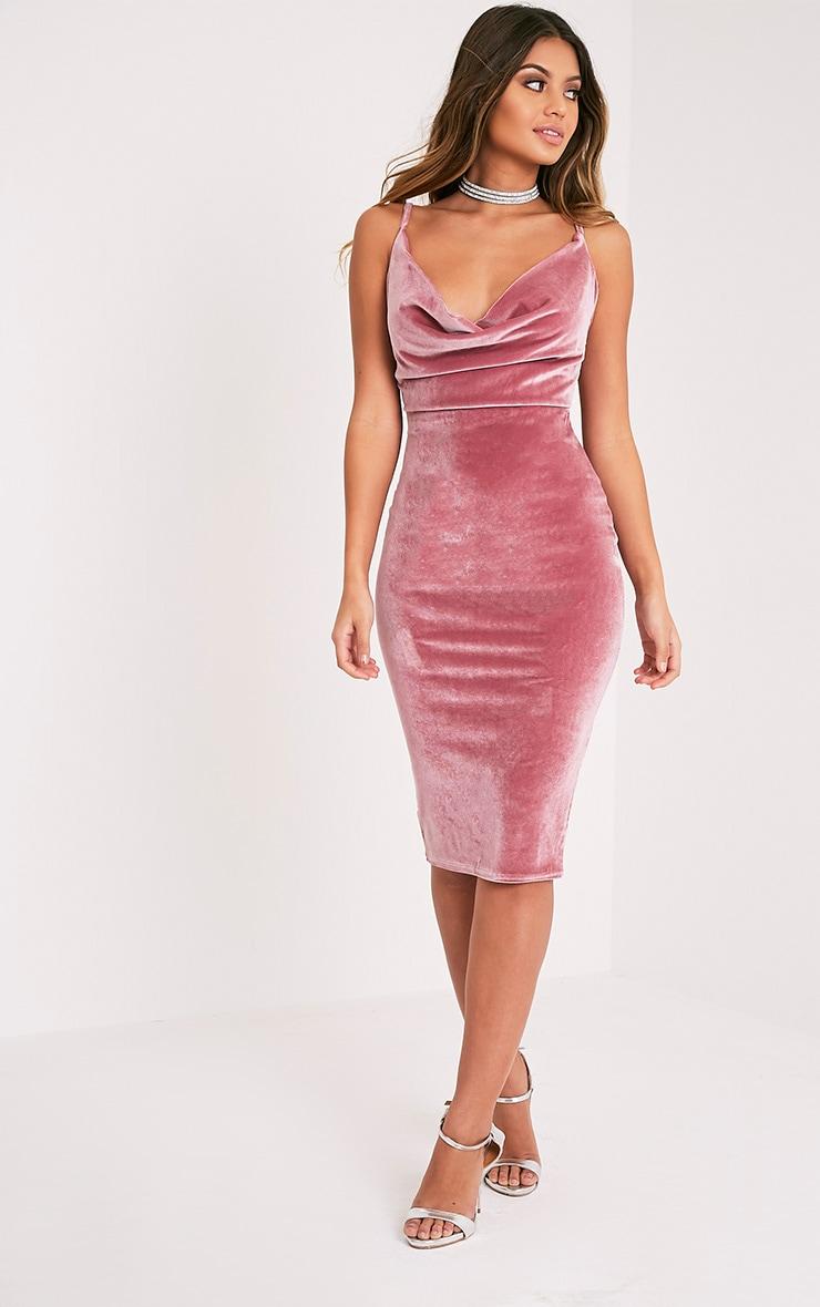 Anelise Dusty Pink Velvet Cowl Neck Midi Dress 1