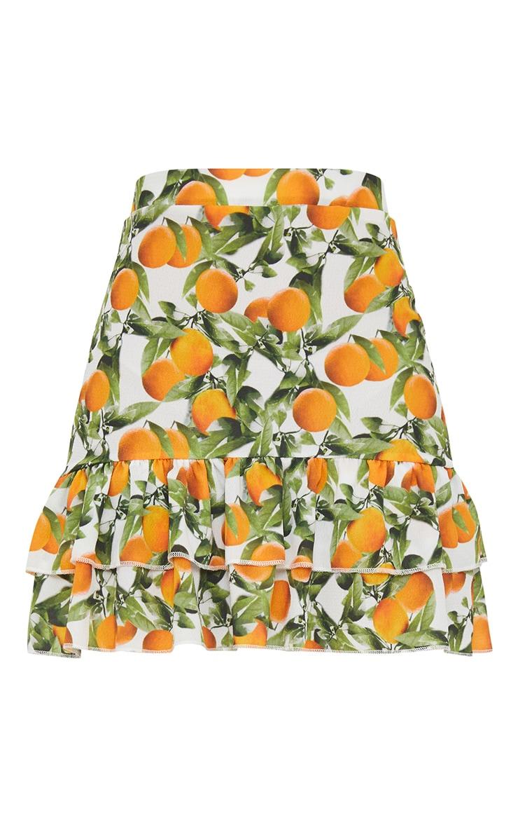Orange Print Frill Detail Mini Skirt 3