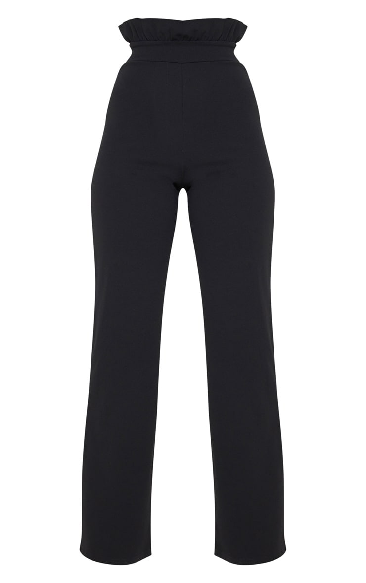 Petite Black Frill High Waist Trousers 3