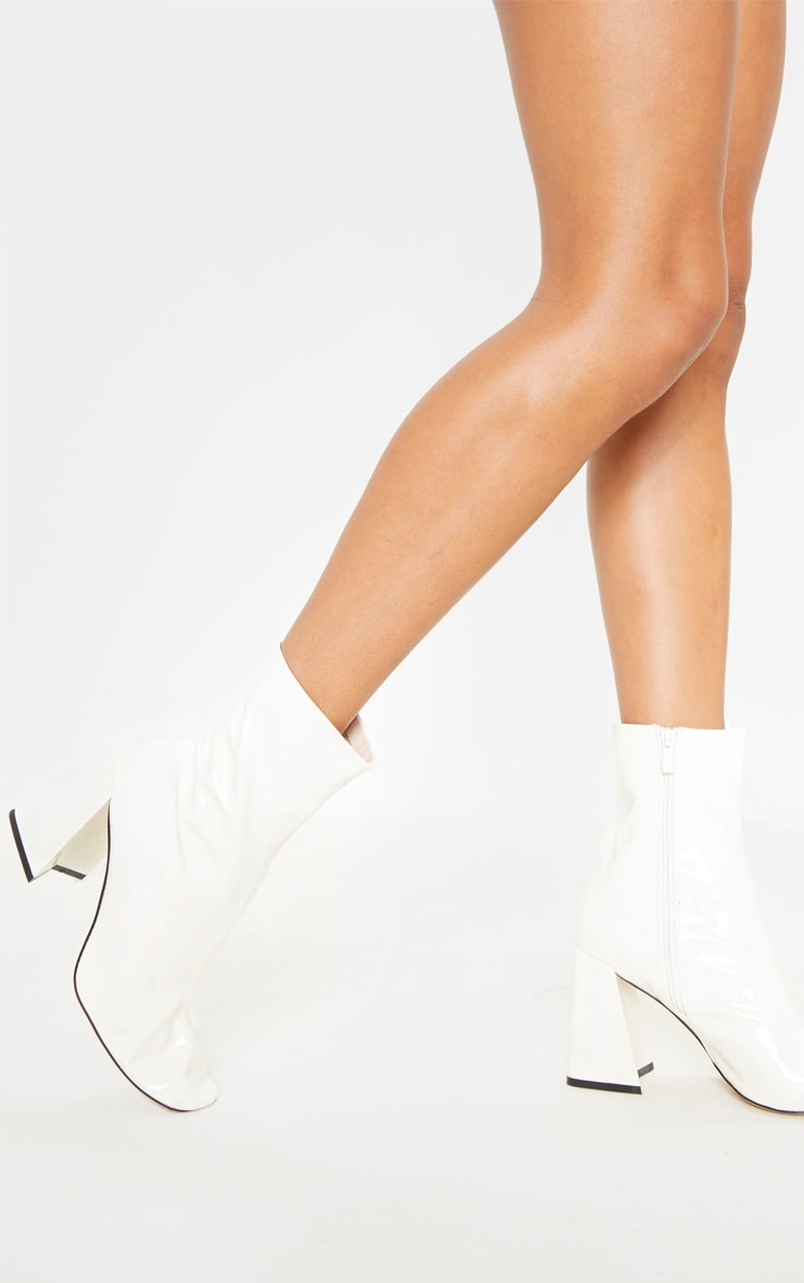 White Square Toe Flared Block Heel Ankle Boot 1