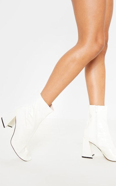 White Square Toe Flared Block Heel Ankle Boot