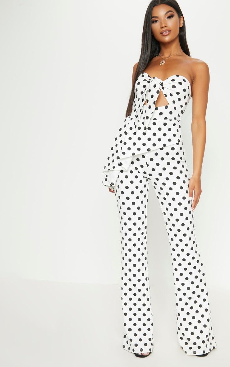 White Polka Dot Tie Front Peplum Jumpsuit  1