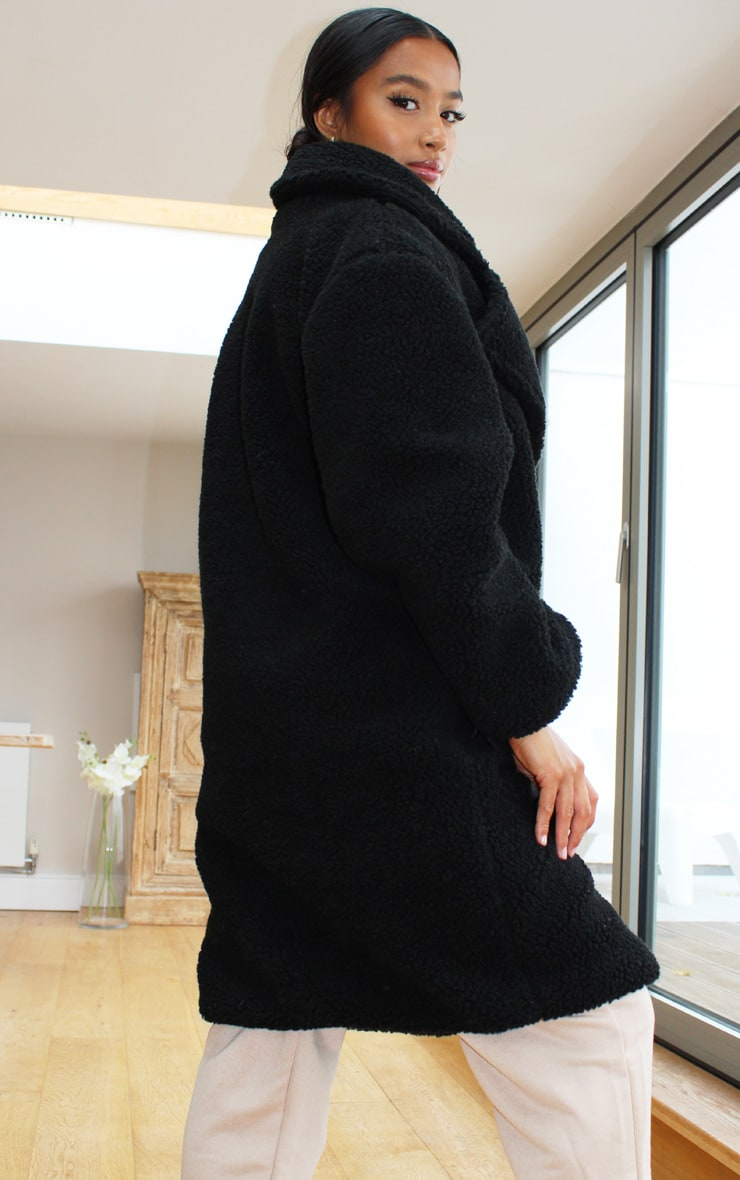 Petite Black Borg Longline Coat 2