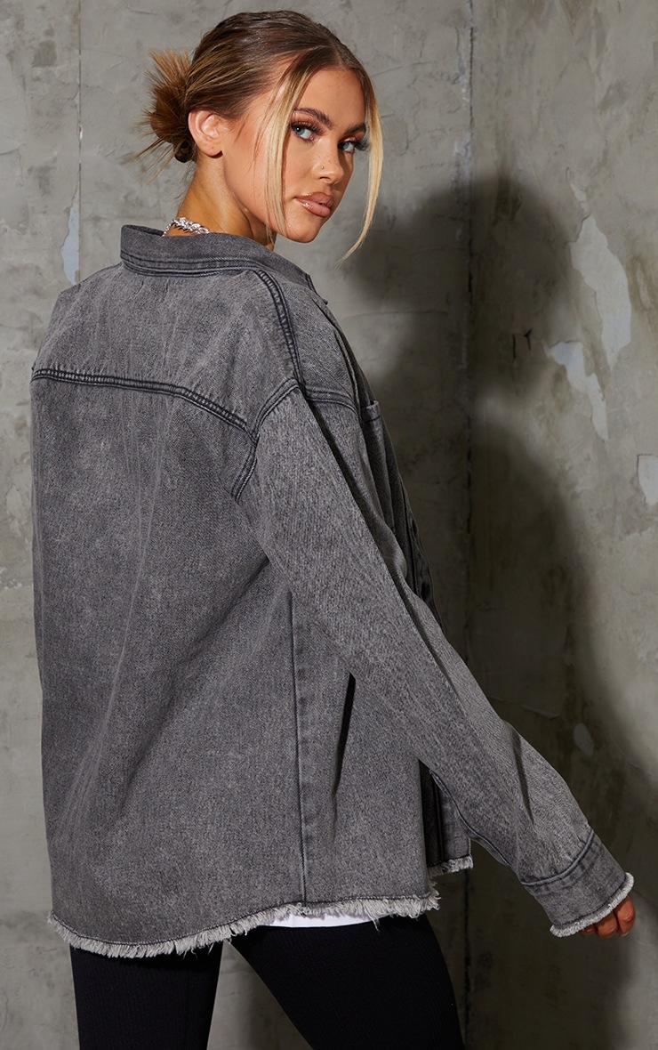 Grey Acid Raw Hem Oversized Denim Shirt 2