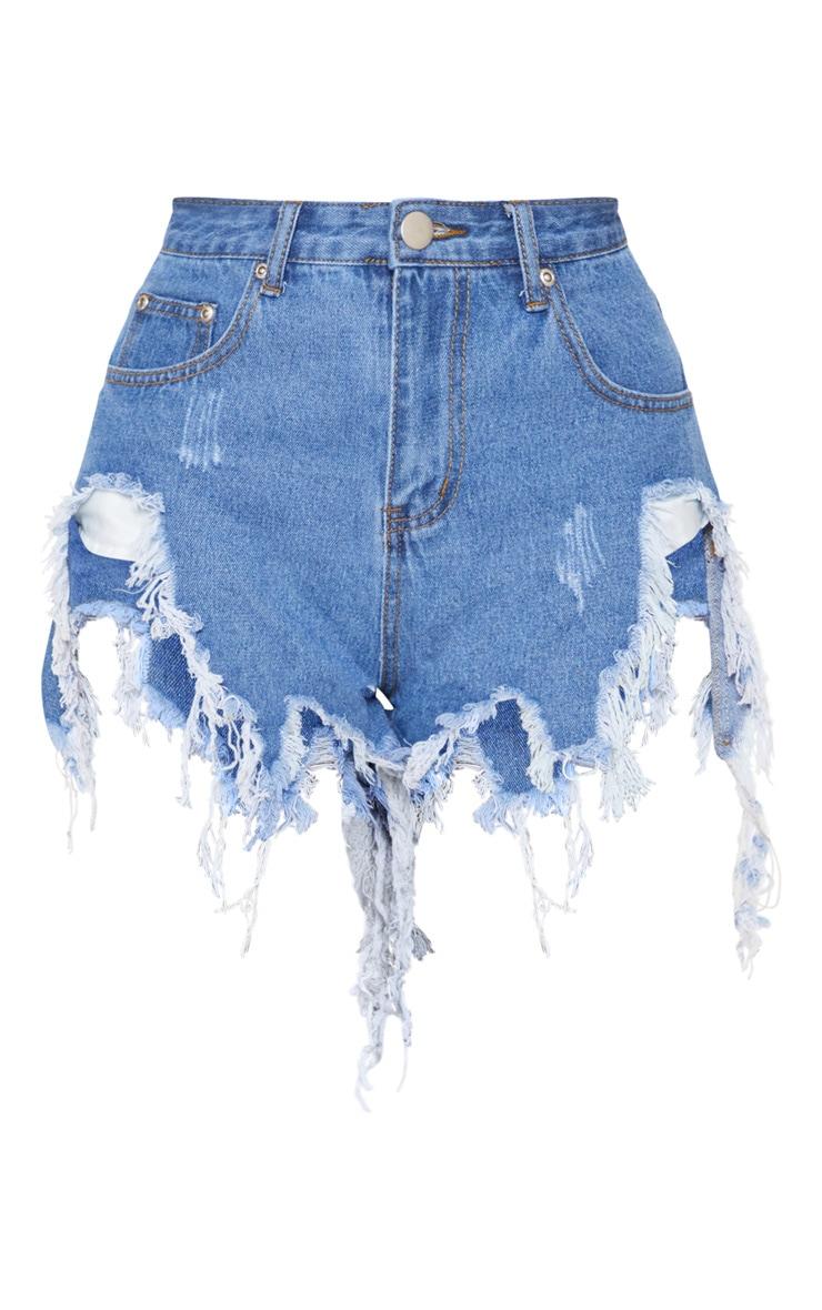 Light Blue Wash Extreme Thigh Rip Denim Short 4