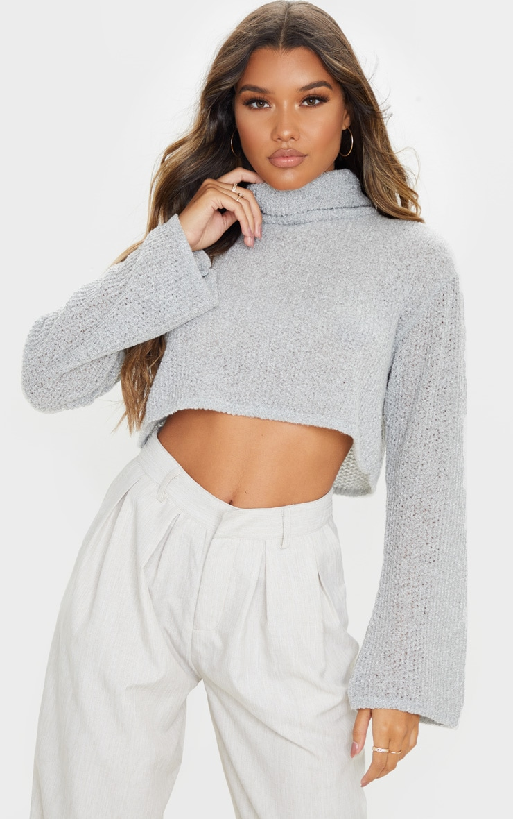 Light Grey Boucle Crop Knitted Roll Neck Jumper 1