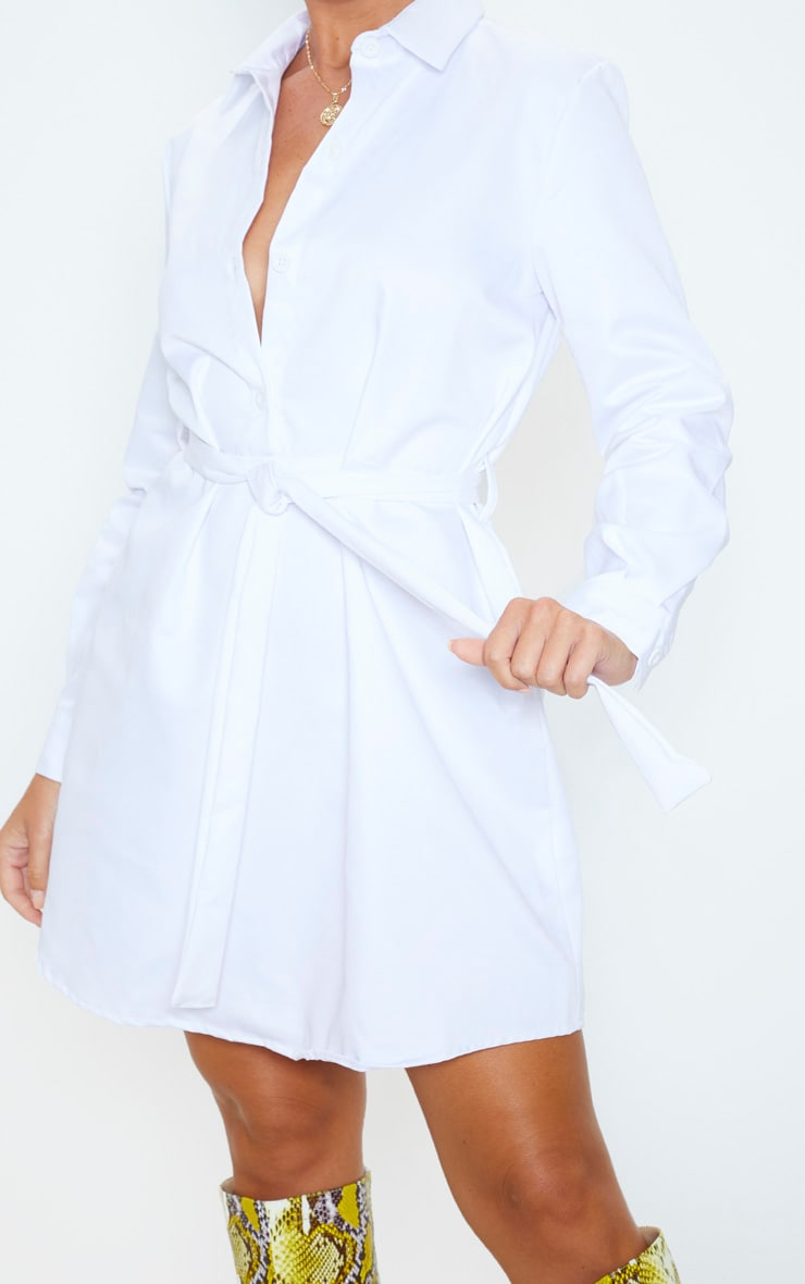 White Pleated Shirt Dress 5