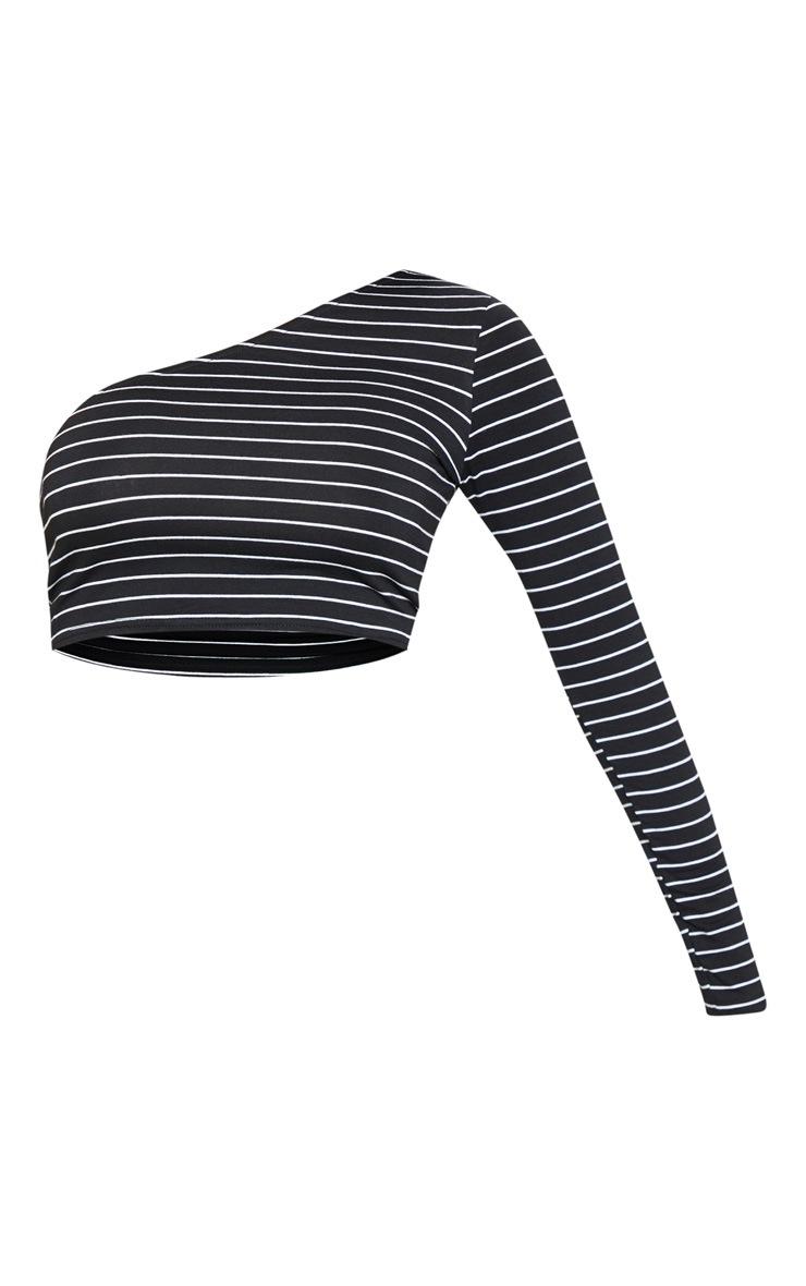 Black Stripe Printed One Shoulder Crop Top 3