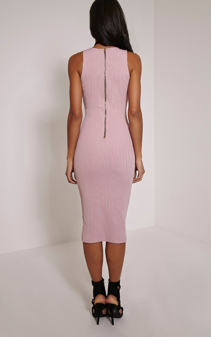 Isidora Mauve Ribbed Deep V Midi Dress 2