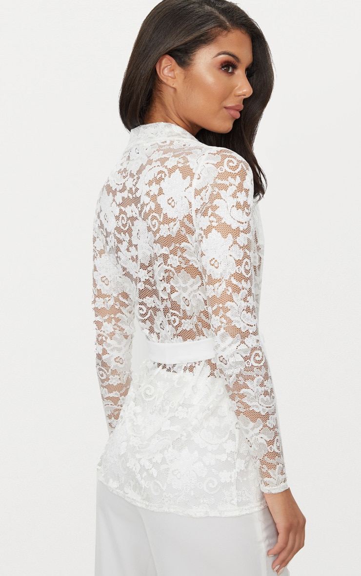 White Lace Belted Blazer 2