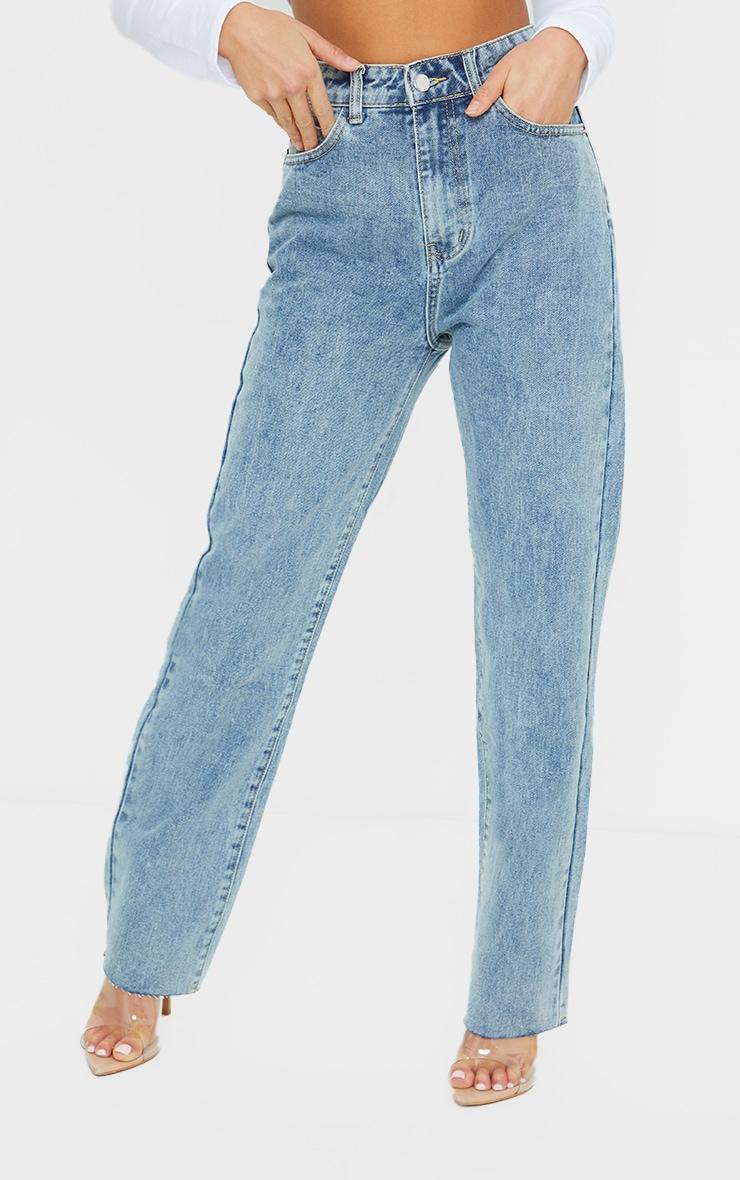 PRETTYLITTLETHING Vintage Petite Wash Long Leg Straight Jean 2