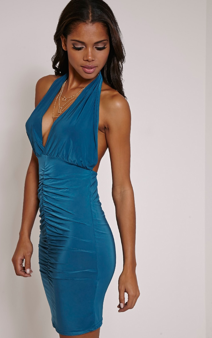 Cindie Teal Ruched Front Dress 3